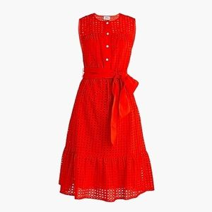 JCrew Red Eyelet Dress